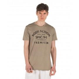Ανδρικό αθλητικό μπλουζάκι BODY ACTION 053925-01-07F Χακί