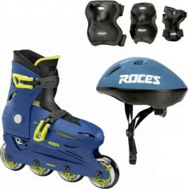 Inline Rollers Orlando 4.0 με Προστατευτικά και Κράνος από την ROCES BLUE/lime