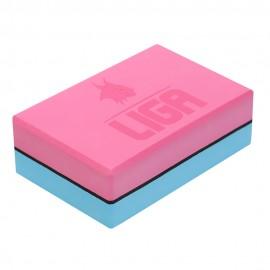 Τουβλάκι Yoga δίχρωμο (Two-color Yoga block) (γαλάζιο/ροζ) LIGASPORT*